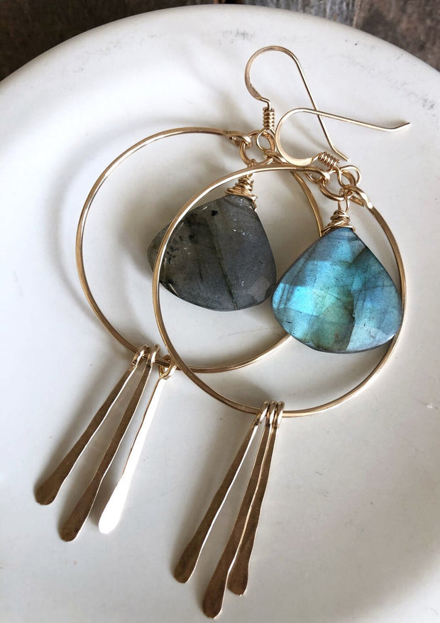 Circle Hoops and Hammered Spikes with Labradorite Gemstone