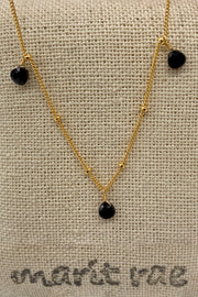 8 Stone Adjustable Gemstone Necklace - Onyx