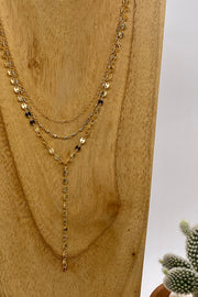 Triple Layer Labradorite Beaded Rosary Chain Necklace