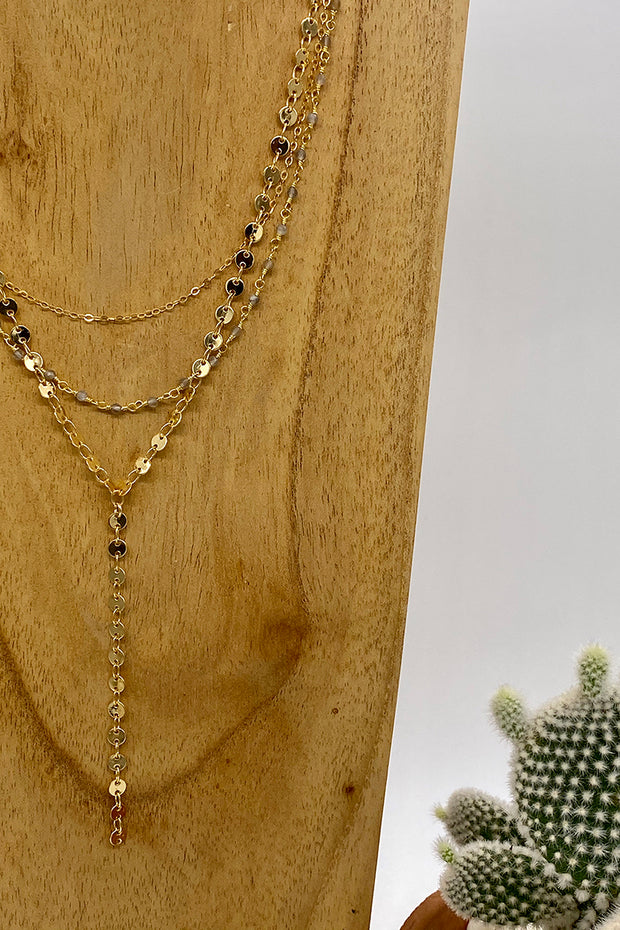Triple Layer Mocha Moonstone Beaded Rosary Chain Necklace
