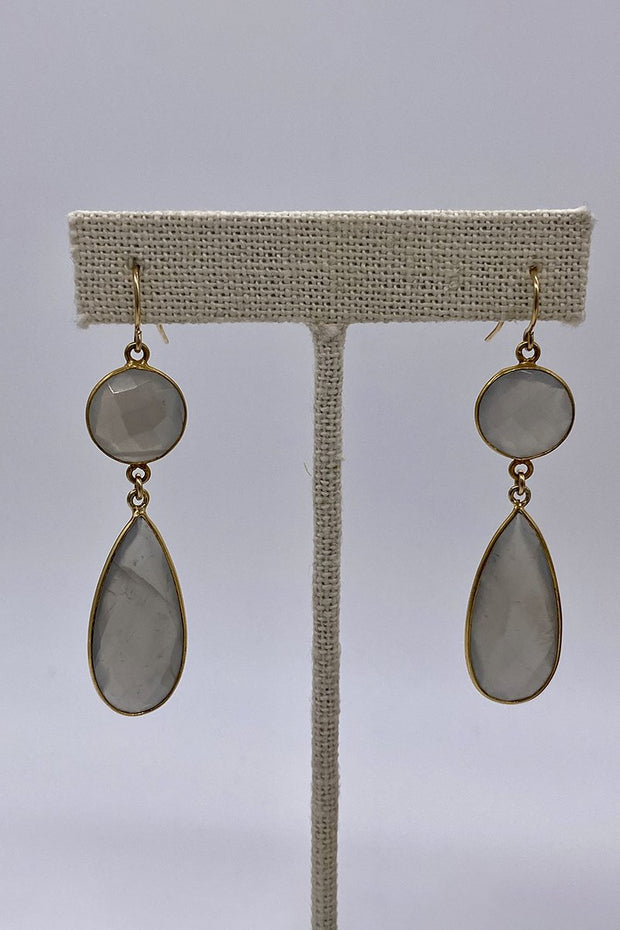 Large Double Gemstone Teardrop Earrings - Smokey Quartz