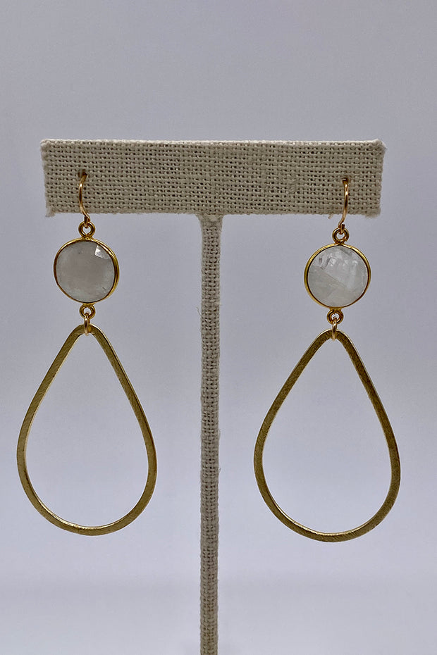 Large Brushed Gold Teardrop Earrings with Moonstone Gem