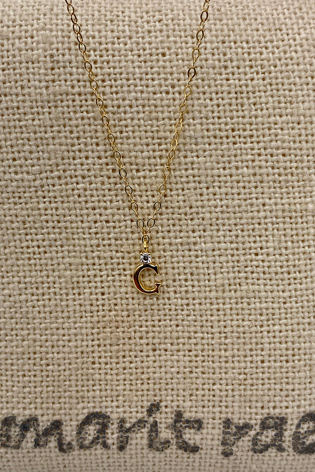 Dainty Diamond Necklace with Initial - G