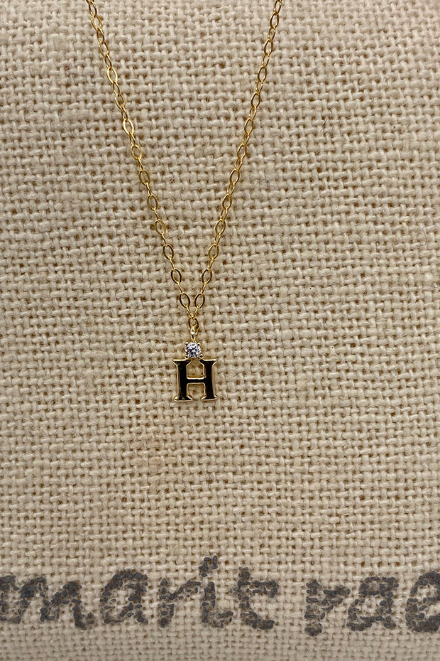 Dainty Diamond Necklace with Initial - H