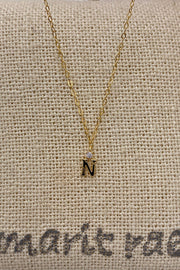 Dainty Diamond Necklace with Initial - N