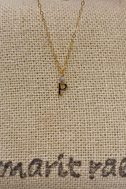 Dainty Diamond Necklace with Initial - P