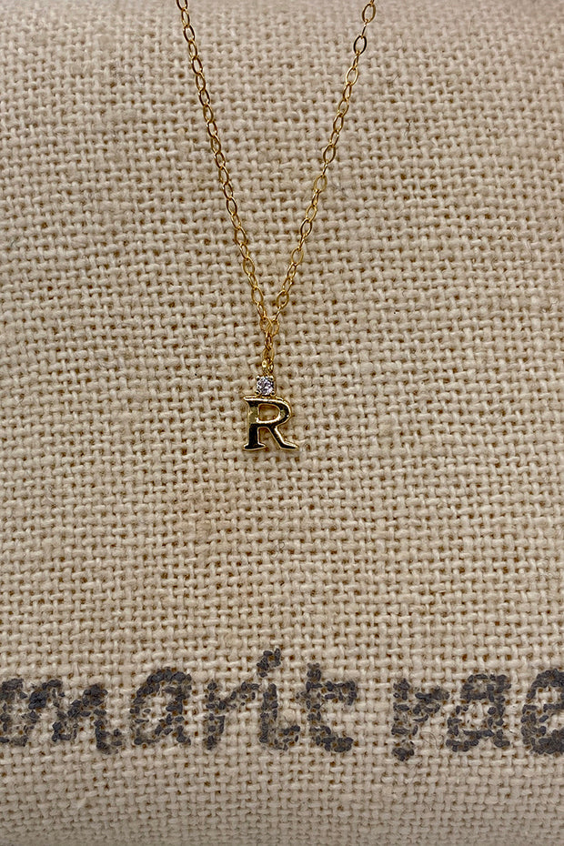 Dainty Diamond Necklace with Initial - R