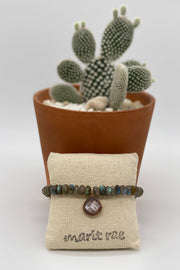Neutral Labradorite Bracelet with a Large Chocolate Moonstone Drop