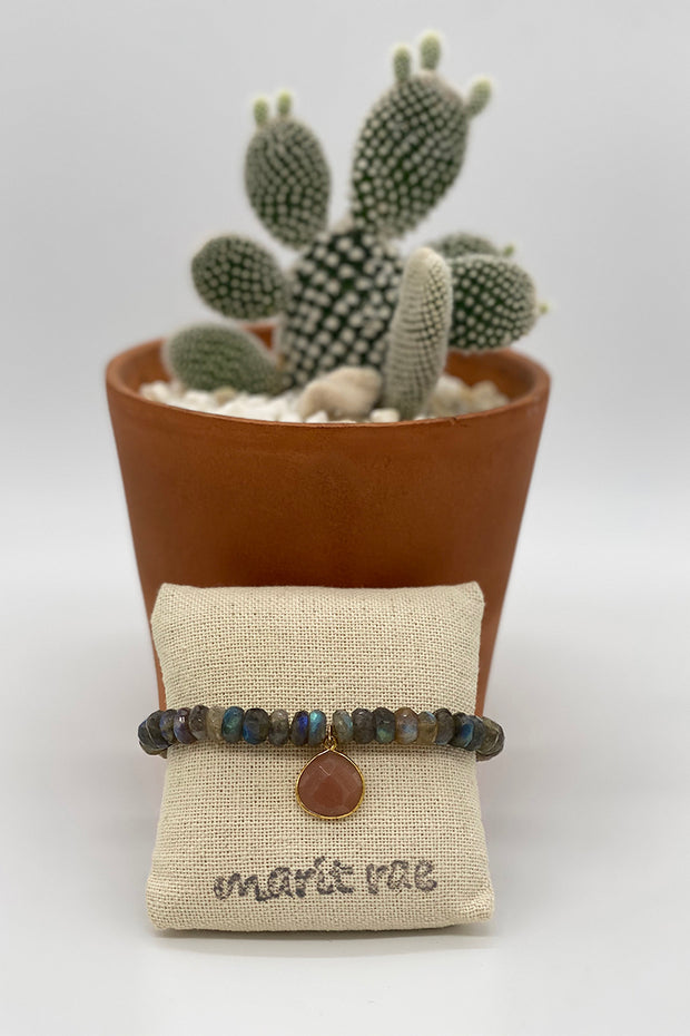 Neutral Labradorite Bracelet with a Carnelian Drop