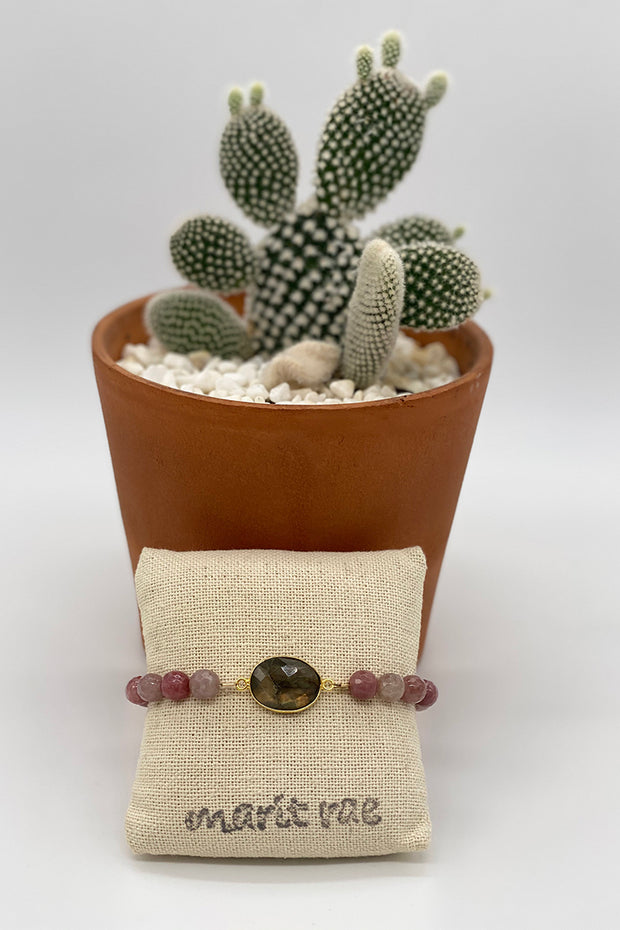 Neutral Cherry Quartz Bracelet with a Large Oval Labradorite Gemstone