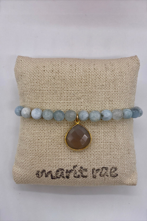 Neutral Blue Larimar Bracelet with a Large Grey Moonstone Drop