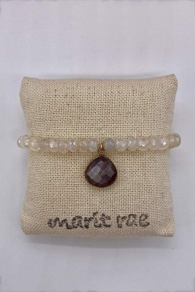 Neutral Moonstone Bracelet with a Large Labradorite Drop