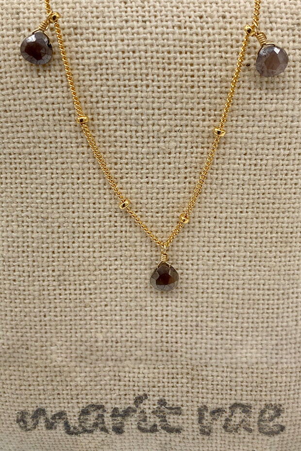 8 Stone Adjustable Gemstone Necklace - Coated Chocolate Moonstone