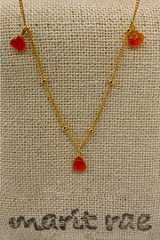 8 Stone Adjustable Gemstone Necklace - Carnelian