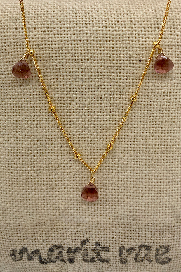 8 Stone Adjustable Gemstone Necklace - Purple Garnet
