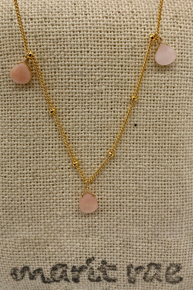 8 Stone Adjustable Gemstone Necklace - Light Pink Opal