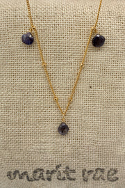 8 Stone Adjustable Gemstone Necklace - Iolite