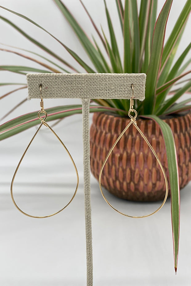 Large Plain Teardrop Hoops in Gold