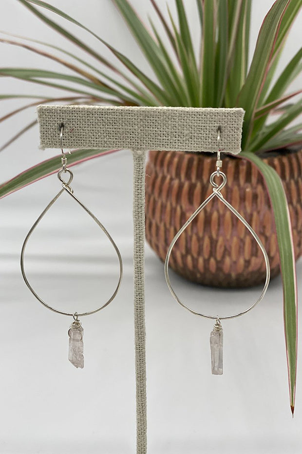Teardrop Hoops With Pink Baby Crystal Dangle in Silver