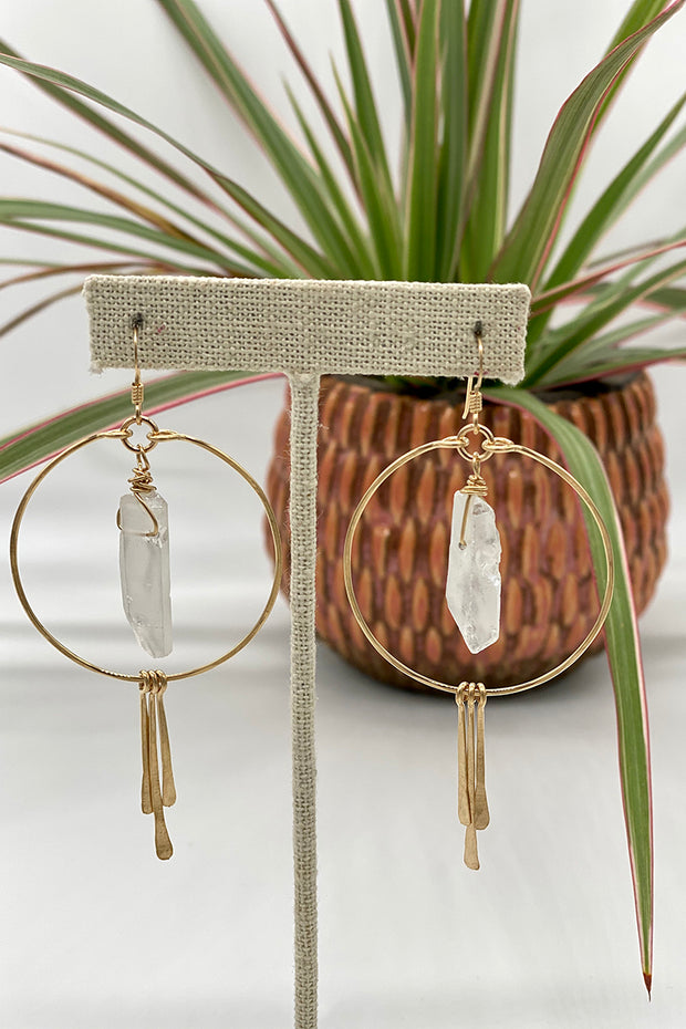 Circle Hoops and Hammered Spikes with White Crystal Center in Gold