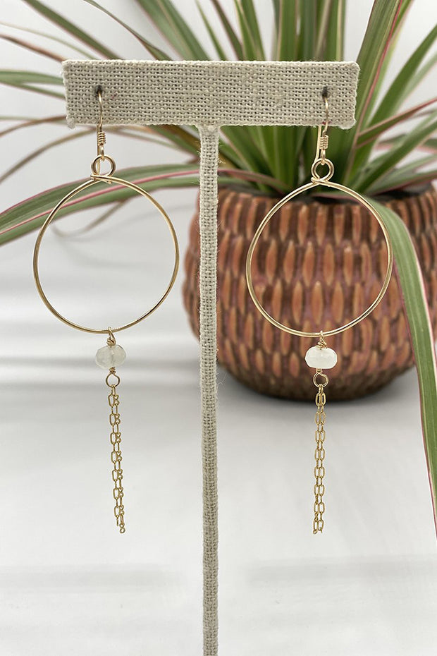 Circle Hoops with Moonstone Rondelle and Chain Detail