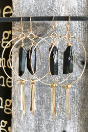 Circle Hoops and Hammered Spikes with Black Crystal Center in Gold