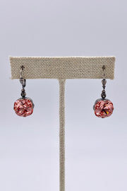 Peach Swarovski Crystal Leverback Hanging Stud Earrings