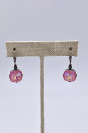 Light Rose Opal Swarovski Crystal Leverback Hanging Stud Earrings