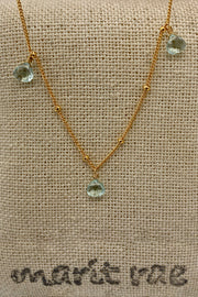 8 Stone Adjustable Gemstone Necklace - Aqua Quartz