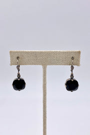 Jet Swarovski Crystal Leverback Hanging Stud Earrings