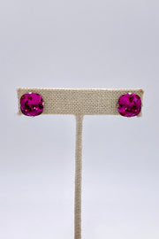Fushia Swarovski Crystal Stud Earrings
