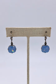 Air Blue Opal Swarovski Crystal Leverback Hanging Stud Earrings