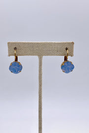 Air Blue Opal Swarovski Crystal Leverback Stud Earrings