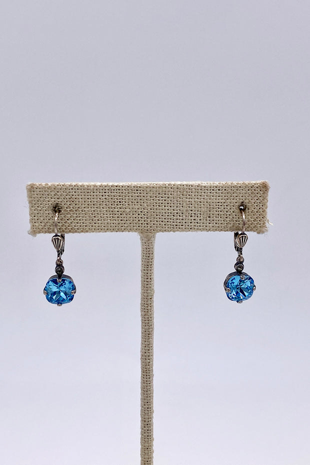 Aquamarine Swarovski Crystal Leverback Hanging Stud Earrings