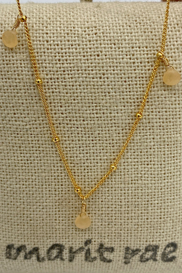 8 Stone Adjustable Gemstone Necklace - Yellow Jade