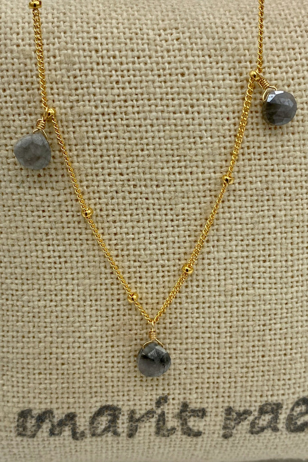 8 Stone Adjustable Gemstone Necklace - Grey Jasper