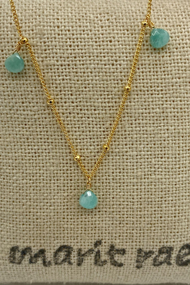 8 Stone Adjustable Gemstone Necklace - Aventurine
