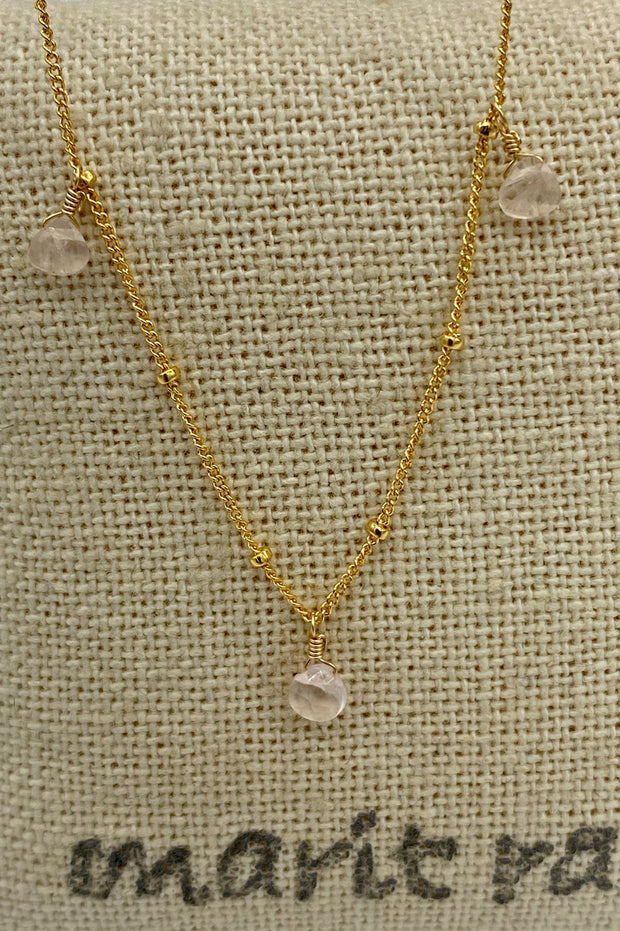 8 Stone Adjustable Gemstone Necklace - Rose Quartz