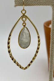 Hammered Marquee Gold Hoops with Teardrop Gemstones - Moonstone