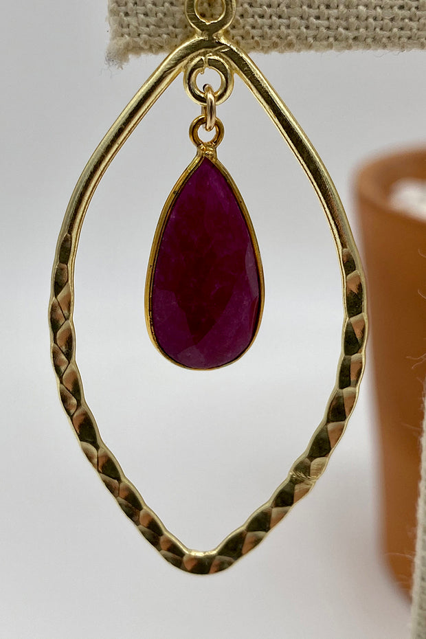 Hammered Marquee Gold Hoops with Teardrop Gemstones - Garnet