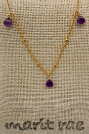 8 Stone Adjustable Gemstone Necklace - Purple Amethyst
