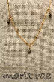 8 Stone Adjustable Gemstone Necklace - Pyrite