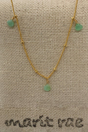 8 Stone Adjustable Gemstone Necklace - Green Crysoprase