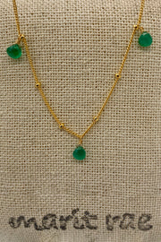 8 Stone Adjustable Gemstone Necklace - Green Onyx