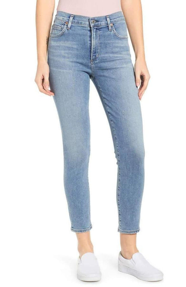 "Bottoms-Rocket Crop High Rise Skinny in ""Deja Vu""-Citizens Of Humanity-Blue-Ox-Boutique-24"
