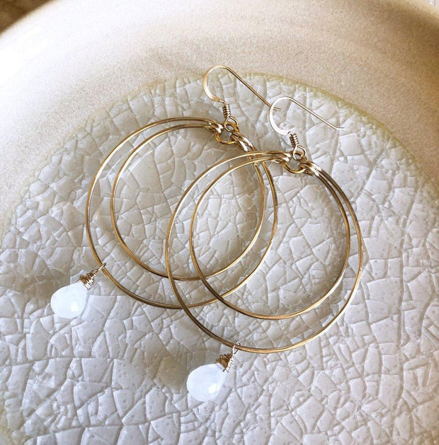 Earrings-Double Circle Hoop with Moonstone Drop-Quinn Sharp-Blue-Ox-Boutique-