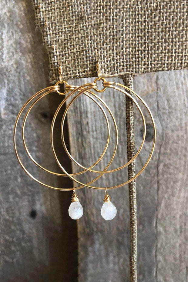 Earrings-Double Circle Hoop with Moonstone Drop-Quinn Sharp-Blue-Ox-Boutique-Gold