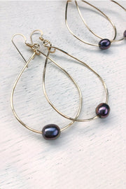 Earrings-Teardrop Hoops with Freshwater Pearl-Quinn Sharp-Blue-Ox-Boutique-Gold