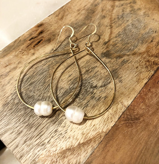 Earrings-Teardrop Hoops with Freshwater Pearl-Quinn Sharp-Blue-Ox-Boutique-Silver