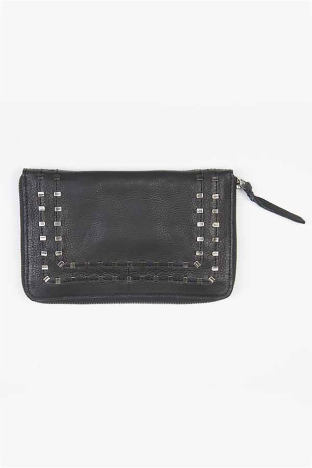 "Leather-""Grant"" Studded Zip Around Clutch-Cut n' Paste-Blue-Ox-Boutique-Black"